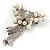 Elegant Imitation Pearl Crystal Butterfly Brooch - view 4