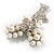 Elegant Imitation Pearl Crystal Butterfly Brooch - view 5