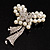 Elegant Imitation Pearl Crystal Butterfly Brooch - view 3