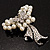 Elegant Imitation Pearl Crystal Butterfly Brooch - view 10