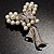 Elegant Imitation Pearl Crystal Butterfly Brooch - view 8