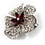 5 Petal Crystal Flower Brooch (Red&Clear) - view 2