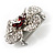 5 Petal Crystal Flower Brooch (Red&Clear) - view 7