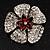 5 Petal Crystal Flower Brooch (Red&Clear) - view 5
