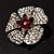 5 Petal Crystal Flower Brooch (Red&Clear) - view 6