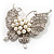 Exquisite Imitation Pearl Crystal Butterfly Brooch - view 7