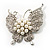 Exquisite Imitation Pearl Crystal Butterfly Brooch - view 8