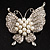 Exquisite Imitation Pearl Crystal Butterfly Brooch - view 2