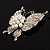 Exquisite Imitation Pearl Crystal Butterfly Brooch - view 3
