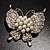 Exquisite Imitation Pearl Crystal Butterfly Brooch - view 10