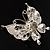 Exquisite Imitation Pearl Crystal Butterfly Brooch - view 6