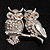 'Two Wise Owls' Clear Crystal Brooch