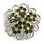 Green Crystal Filigree Floral Brooch