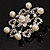 Rhodium Plated Faux Pearl Crystal Snowflake Brooch - view 4