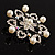 Rhodium Plated Faux Pearl Crystal Snowflake Brooch - view 3