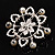 Rhodium Plated Faux Pearl Crystal Snowflake Brooch - view 6