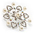 Rhodium Plated Faux Pearl Crystal Snowflake Brooch - view 7