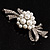 Snow White Imitation Pearl Bow Brooch - view 4
