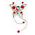 Red Crystal Butterfly With Dangling Tail Brooch - view 3