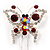 Red Crystal Butterfly With Dangling Tail Brooch - view 7