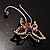 Red Crystal Butterfly With Dangling Tail Brooch - view 4