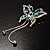 Blue Crystal Butterfly With Dangling Tail Brooch - view 5