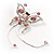 Pink Crystal Butterfly With Dangling Tail Brooch - view 5