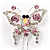 Pink Crystal Butterfly With Dangling Tail Brooch - view 3
