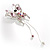 Pink Crystal Butterfly With Dangling Tail Brooch - view 4