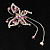 Pink Crystal Butterfly With Dangling Tail Brooch - view 7