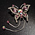 Pink Crystal Butterfly With Dangling Tail Brooch - view 2
