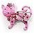 Pink Crystal Enamel Cat Brooch - view 11
