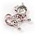 Pink Crystal Enamel Cat Brooch - view 3