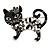 Black Crystal Enamel Cat Brooch