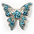 Dazzling Light Blue Crystal Butterfly Brooch