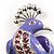 Gigantic Purple Enamel Peacock Fashion Brooch - view 3