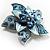 3D Enamel Crystal Flower Brooch (Blue&Sky Blue) - view 3