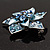 3D Enamel Crystal Flower Brooch (Blue&Sky Blue) - view 5