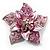 3D Enamel Crystal Flower Brooch (Pink) - view 5