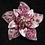 3D Enamel Crystal Flower Brooch (Pink) - view 7
