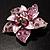 3D Enamel Crystal Flower Brooch (Pink) - view 8