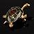 Small Enamel Crystal Turtle Brooch (Green&Brown) - view 9