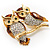 Two Gold Crystal Sitting Owls Brooch - 35mm - view 3