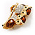 Two Gold Crystal Sitting Owls Brooch - 35mm - view 4