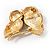 Two Gold Crystal Sitting Owls Brooch - 35mm - view 5
