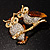 Two Gold Crystal Sitting Owls Brooch - 35mm - view 6
