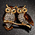 Two Gold Crystal Sitting Owls Brooch - 35mm - view 2