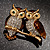 Two Gold Crystal Sitting Owls Brooch - 35mm - view 7