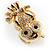 Gold Tone Crystal Owl Brooch - view 2