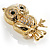 Gold Tone Crystal Owl Brooch - view 3